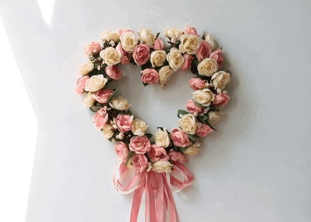 Pink and Wine Red Rose Flower Wreath, Artificial Silk Flower Wreath for Home Decoration