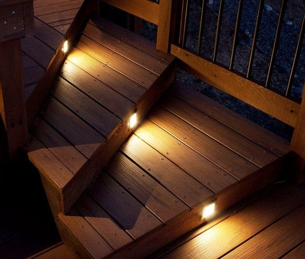 Deck lighting definitely prefer having lights on every stair dont like every other stair and have to make sure that can still shovel without breaking