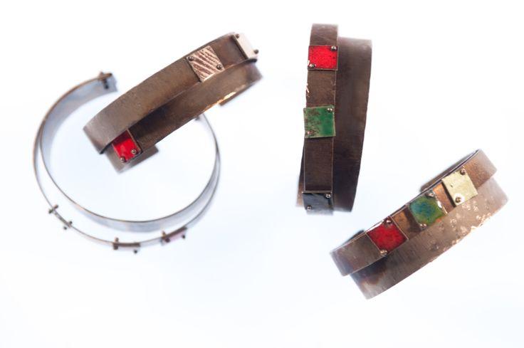 PIGMENTI cuffs Silver, Steel and Enamel #zero43 info@zero43.com