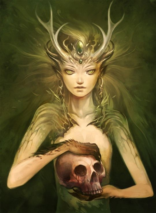 Breathtaking Fantasy Artworks by Sandara | Looks like a Dryad or some other type of fae creature.