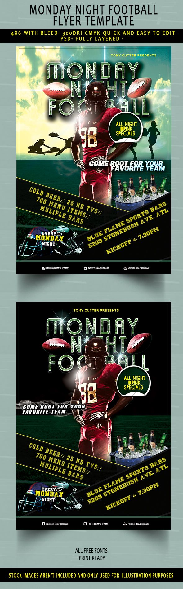 Monday Night Football Flyer (Free Download) PSD on Behance