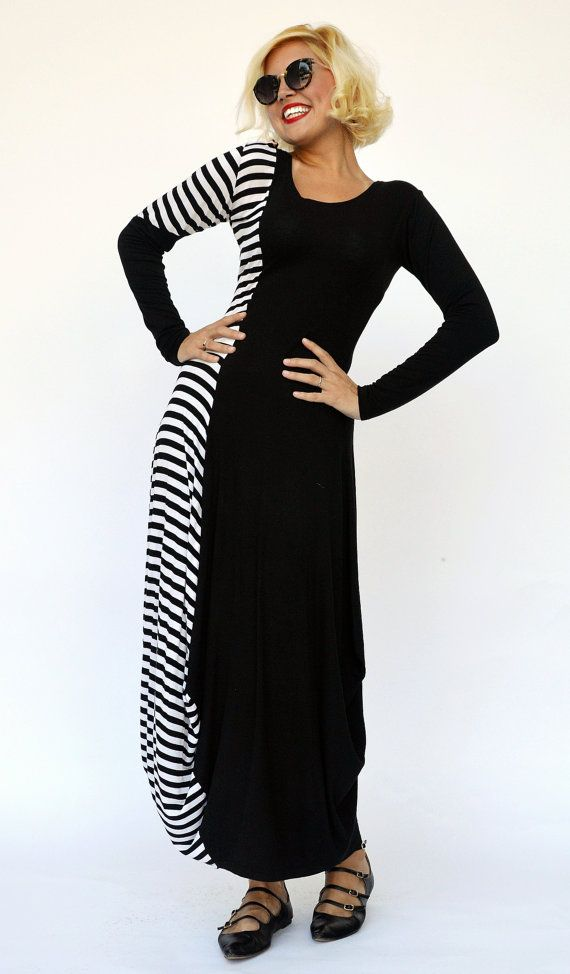 Striped Maxi Dress TDK141 Viscose Maxi Dress Black and White https://www.etsy.com/listing/241813127/striped-maxi-dress-tdk141-viscose-maxi?utm_campaign=crowdfire&utm_content=crowdfire&utm_medium=social&utm_source=pinterest