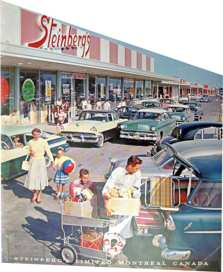 Rare picture of the Steinberg's located in St-Martin Shopping Center in Chomedey (recalled Laval later...) in 1957. This store was not sufficient enough customer-wise, another store was built at the other end 2 years later...