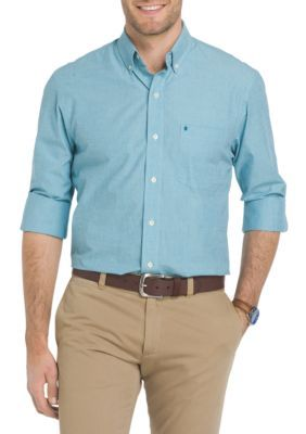 Izod Men's Oxford Solid Button Down Shirt - Blue - 2Xl
