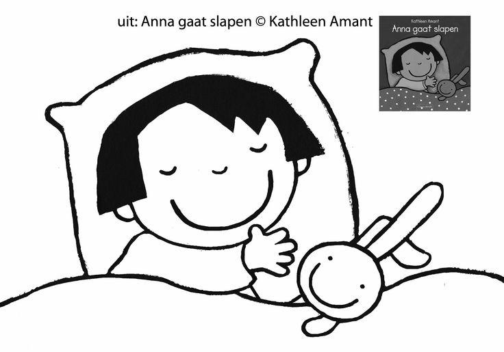 Kleurplaat Anna gaat slapen, www.amant.be