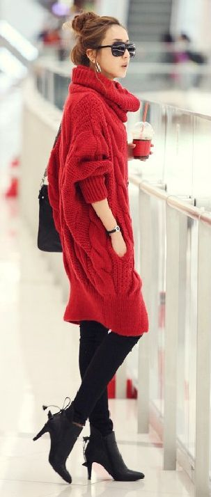 amazing red sweater dress