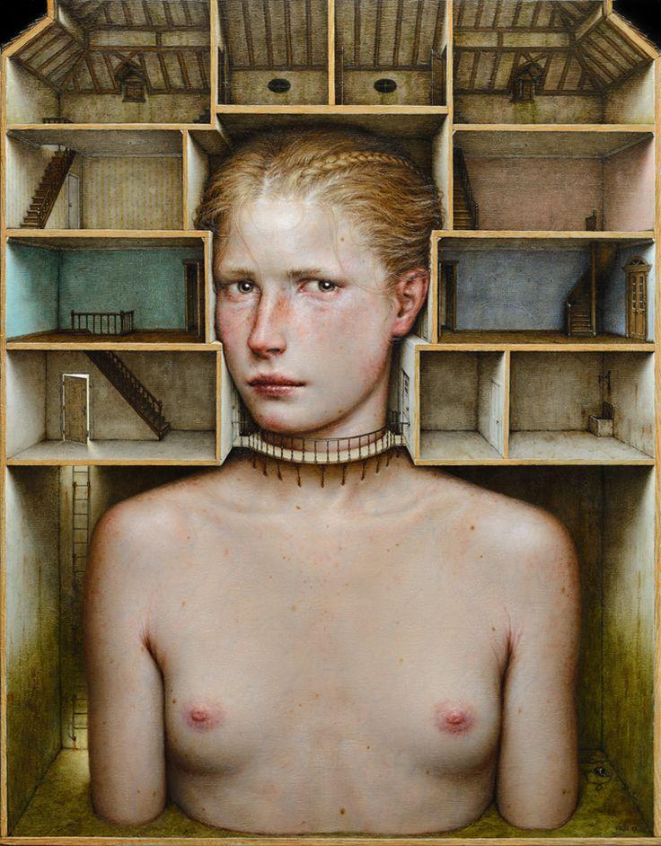 Dino Valls: INHABITATIO, 2017. Oil on wood, 60 x 47 cms.