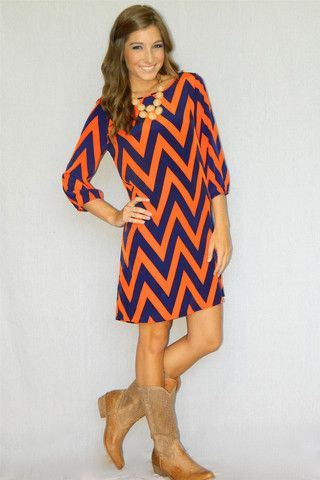 Chevron Bow Back Dress (Orange/Navy) | Girly Girl Boutique