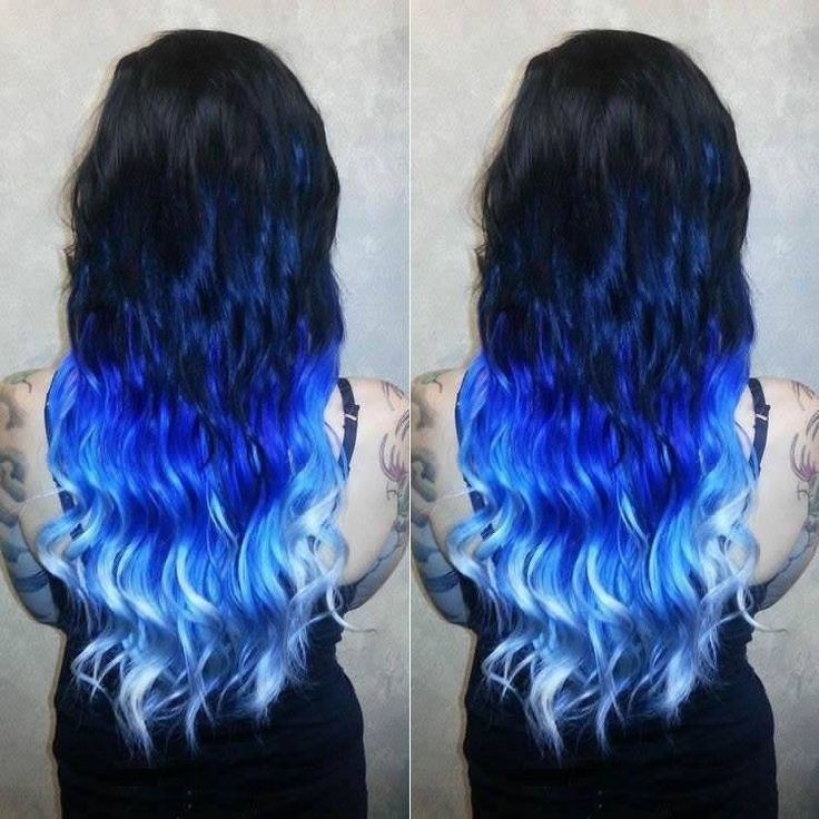 Best 25 blue hair extensions ideas on pinterest colored hair black to blue mermaid ombre dip dye indian remy clip in hair extensions tc1054 pmusecretfo Choice Image