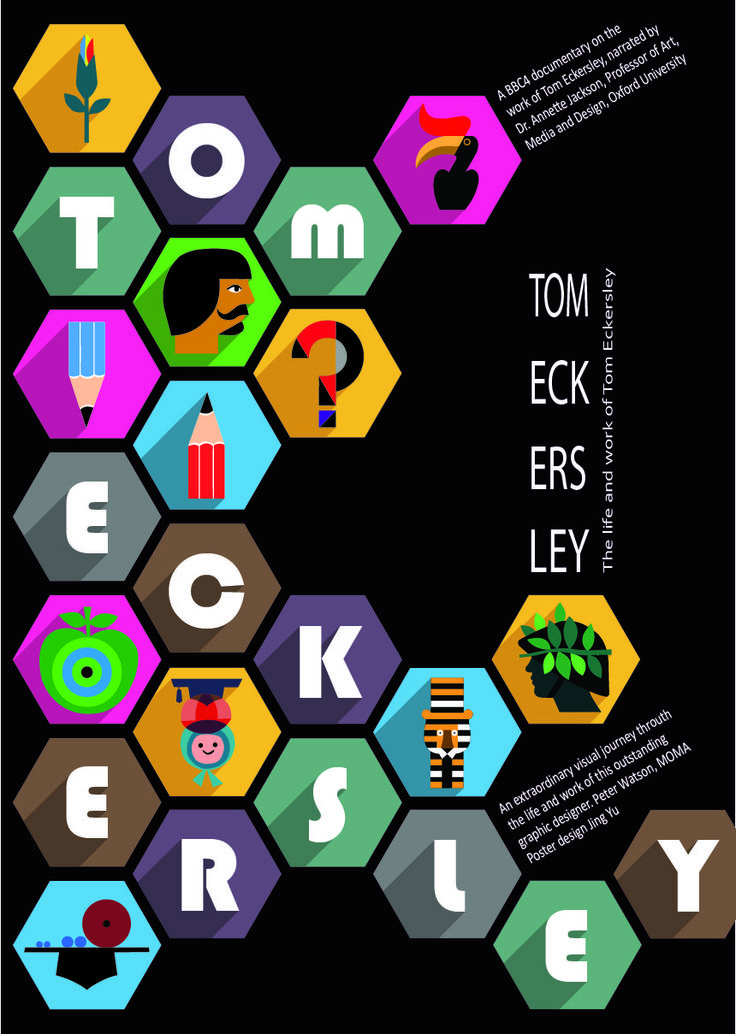 Poster about Tom Eckersley. Poster designer Tom Eckersley developed a flat graphic design style about 40 years ago.