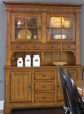 Liberty Treasures Buffet With Hutch In Rustic Oak