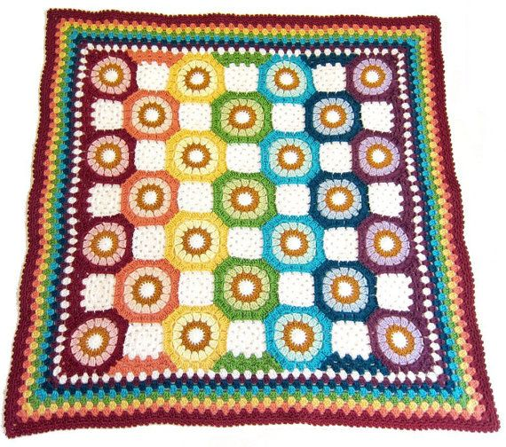 Vintage 70s Yellow Daisy Flower Afghan Throw Blanket Flower: 17 Best Images About Crochet Shapes -- Pentagon On