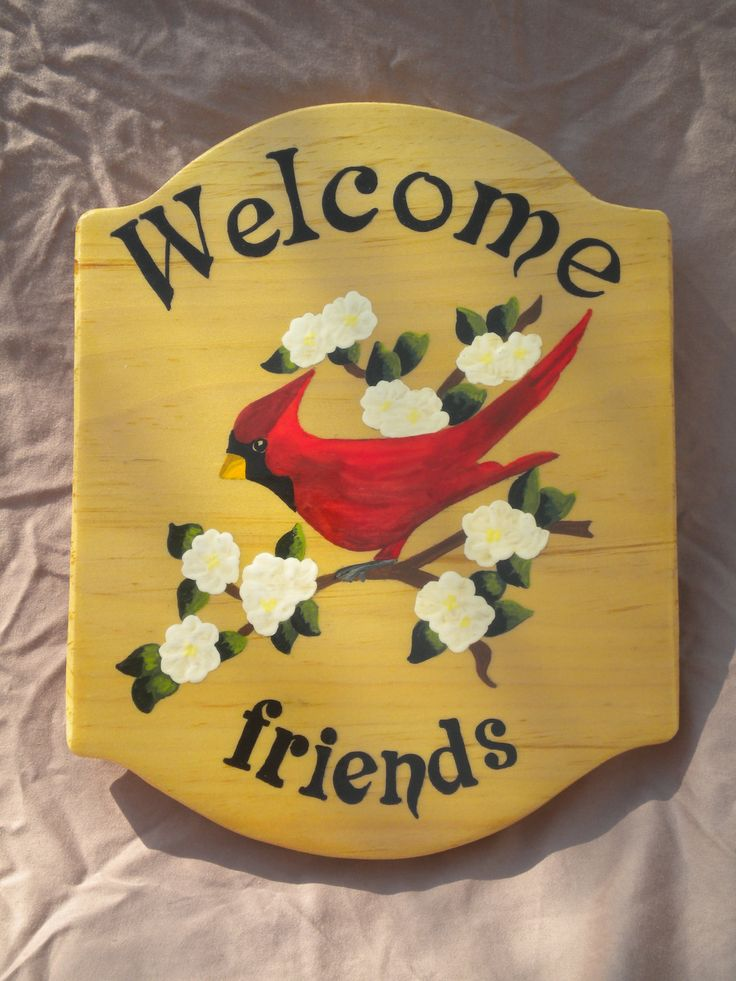 Welcome door sign,red cardinal painting, outdoor sign, welcome friends, wooden sign, door decor, outdoor decor, acrylic painting, plaque by WoodnThingsNY12534 on Etsy