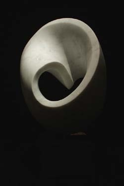 Mobius, 2002, carrara marble & granite. Michael Binkley abstract stone sculpture.