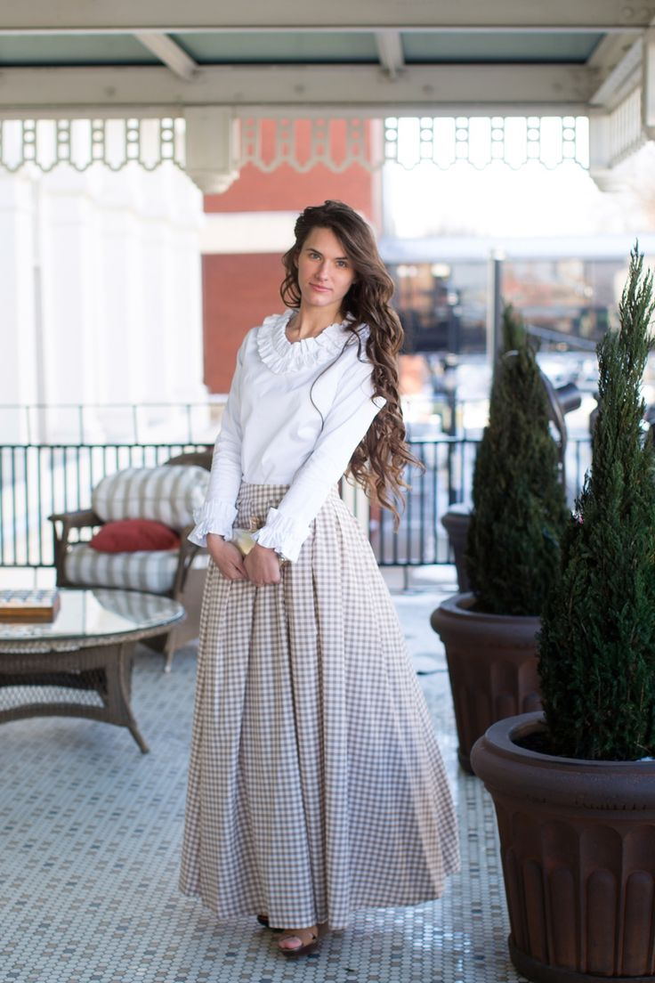 Modest beige check gingham maxi-length Southern Flare skirt. Modest fashion, bridesmaid dresses, ruffles, lace, plus sizes and girls' sizes. www.daintyjewells.com