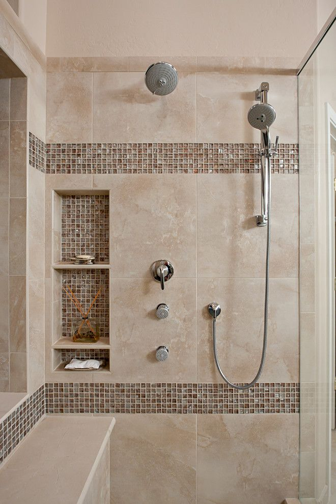 shower niche ideas Bathroom Contemporary with bench in shower chorme ...