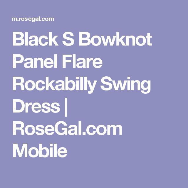 Black S Bowknot Panel Flare Rockabilly Swing Dress   RoseGal.com Mobile