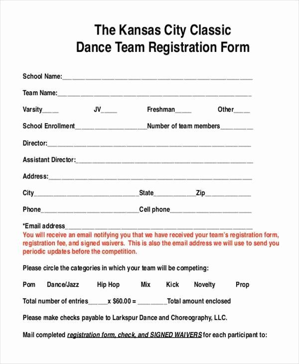 Dance Registration Form Template Luxury Dance Team Contract Template Templates Resume Examples Registration Form Templates Template Word Word Documents