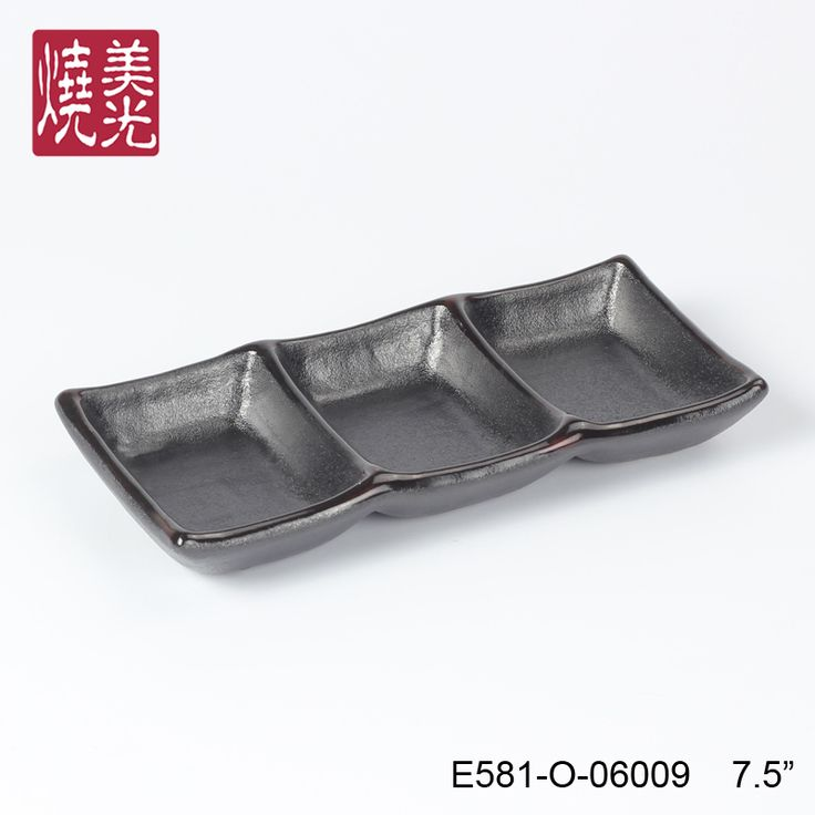 Asian restaurant and hotel ceramic chinaware&stoneware Triple Sauce Dish E581-O-06009 Size: Length 18.5 x width 8.5 x height 2.5 CM