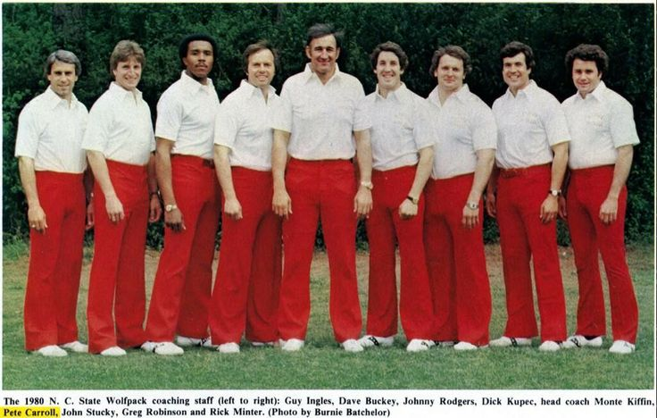 1980 NC Wolfpack coaching staff. Monte Kiffin, Gerg, Rick Minter and Pete Carroll all in unnervingly tight red pants. From Twitter