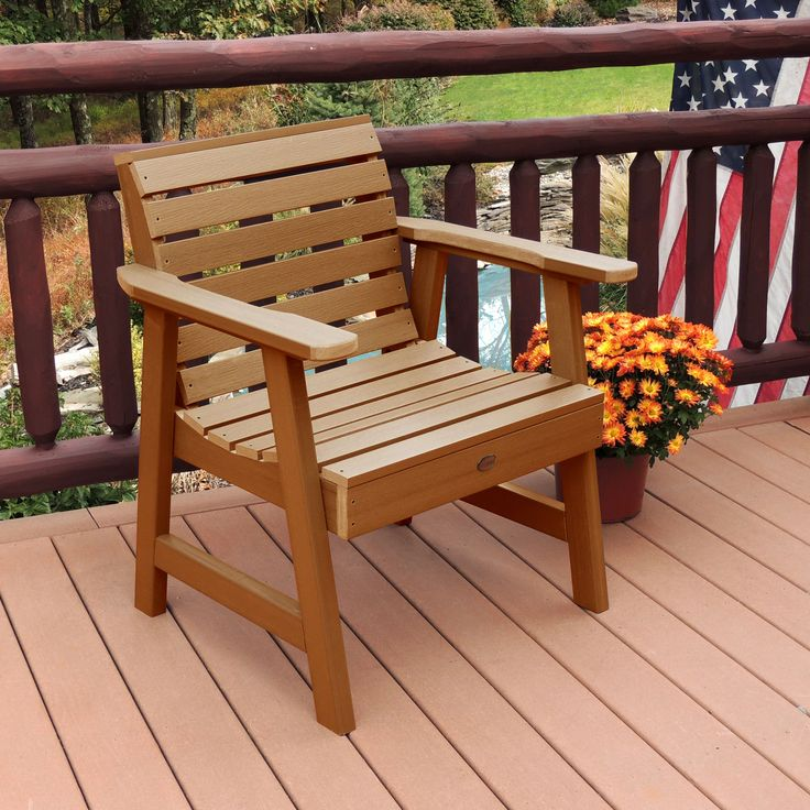 Highwood Eco Friendly Marine Grade Synthetic Wood Weatherly Garden Chair  (Toffee),