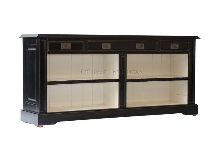 Комод Keywest Open Bookcase. Современный открытый шкаф в стиле прованс, выполненный по мотивам французских традиций 19 века.  4 выдвижные ящика имеют встроенные механизмы для плавного открывания.