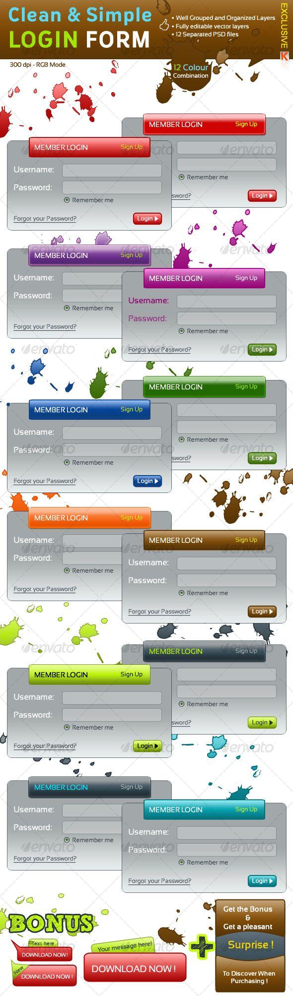 Clean & Simple Login Form Login form, Web box, Website