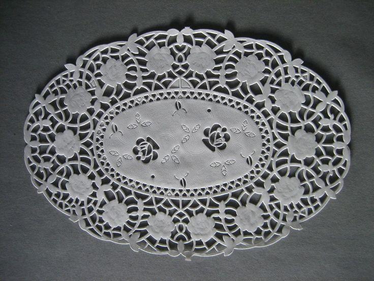 250x Tortenspitze, Tortenspitzen, Tortenpapier oval 27 x 19 cm weiß