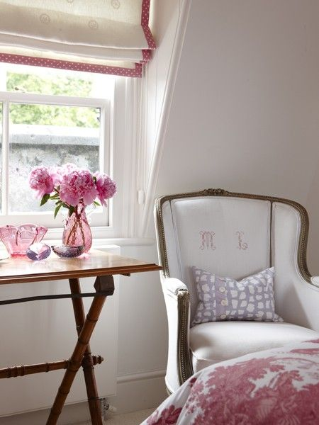 Photographer: Stacey Brandford, Designer: Sarah Richardson Design (via House & Home): Romans Blinds, Pink Polka Dots, Romans Shades, Girls Bedrooms, Chairs, Cosies Bedrooms, Photo Galleries, Bedrooms Nooks, Sarah Richardson Design
