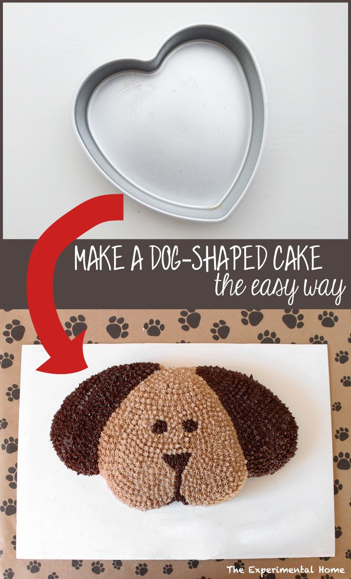 Make a dog-shaped cake the easy way. Learn how at theexperimentalhome.com