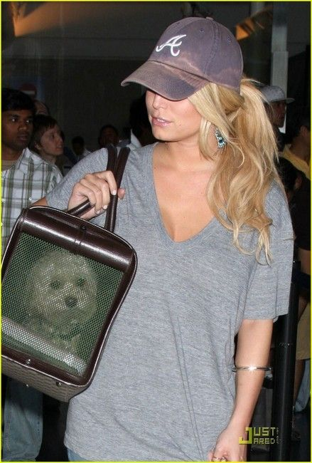 pony tail with ball cap | Jessica Simpson has been spotted wearing an Atlanta Braves Hat