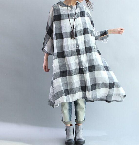"【Fabric】 Linen 【Color】 Blue, black 【Size】 Without limiting Shoulder Shoulder + Sleeve 47cm/18 "" Bust 122cm /48 "" Length 98cm/ 38 "" Have any questions please contact ..."