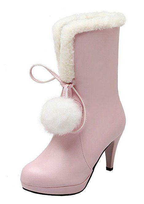 YE Plateau High Heel Stiletto Schnürstiefeletten mit Fell Elegant Fashion  8cm Absatz Warm Gefütterte Herbst Winter