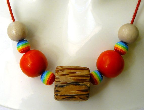 Red//Multi-Coloured Wooden Beaded Necklace by PolyHedraDesign
