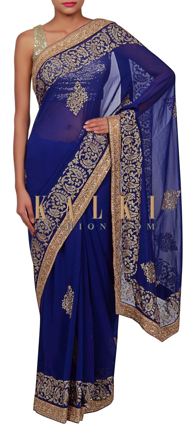 Buy Online from the link below. We ship worldwide (Free Shipping over US$100) http://www.kalkifashion.com/royal-blue-saree-adorn-in-sequin-only-on-kalki.html