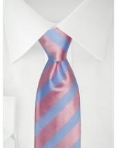 Stropdas strepen blauw/roze