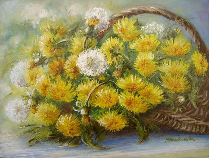 Mlecze - dmuchawce - Maria Roszkowska - obraz, olej