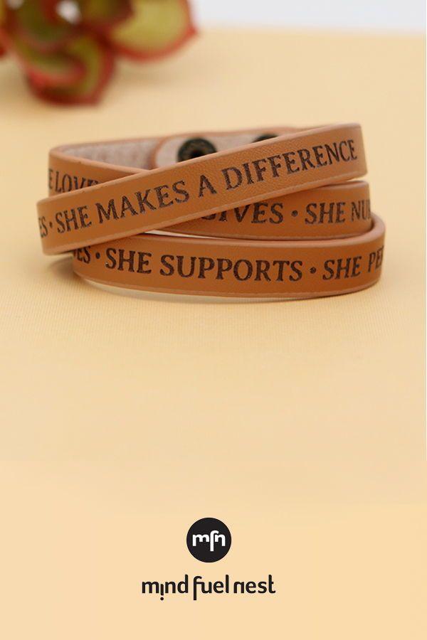 I Am Enough Leather Snap Bracelet