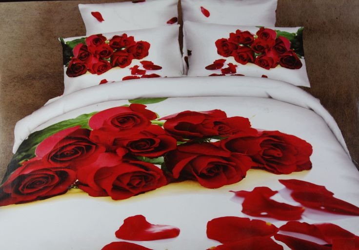 Get Ready to make your Bedroom to a Honeymoon Sweet!  Yes it is possible to convert your ordinary room to a Beautiful Honeymoon Suite..... All you have to do is just place your order here for this Beautiful & Refreshing King Size(275*275cm) Cotton Bed Linen Set in White Color with Beautiful Bunch of Red Roses in 3-Dimensional effects  This bed sheet set is just perfect for those with lovely moods. Even form a Perfect & Remarkable Gift for Anniversaries and Weddings of friends and…