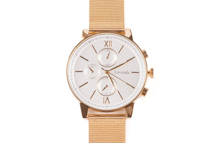 """Luna Pyxis watch  Big dial gold Milanese strap metal watch with roman numerals.   Dial size: Ø4,3cm (1.69"""")  Bracelet: adjustable length from 16 to 21cm (6.9"""" to 8.27"""" ) / width: 2cm (0.79"""")  Color: Gold  Clasp type: Hook buckle  Movement: Japanese Movement  Manufacturer: Designed in South Korea  Material: Stainless steel, waterproof back"""
