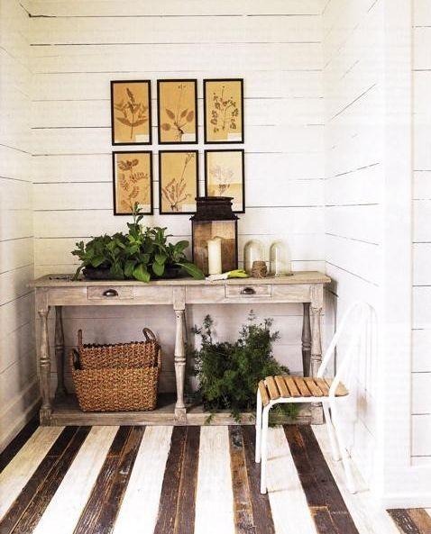 rugged floors, stripe light cream with black closet floors (idea)