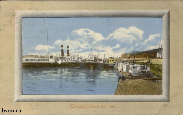 """Vedere din Port, Galati, Romania, anul 1911.  Imagine din colecţiile Bibliotecii Jedeţene """"V.A. Urechia"""" Galaţi."""