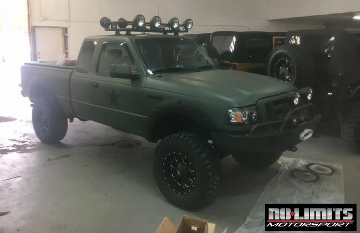 "2007 Ford Ranger with a 3-4 inch Maxtrac suspension system, matte army green wrap, custom 4x4 Fabrication front and rear bumpers, with a Warn VR8000 synthetic rope winch. Smittybilt Defender roof rack, a total of 10 KC LED can lights, and a Hi-Lift jack. We installed 33"" Mickey Thompson Deegan 38 tires on 17"" Fuel Offroad Revolver wheels."