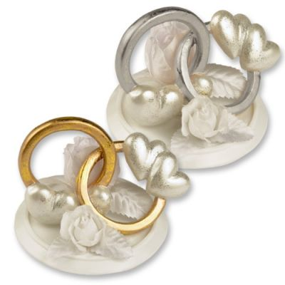 """#2573 Polyresin top """"wedding rings"""" with flower decoration, 2 versions"""