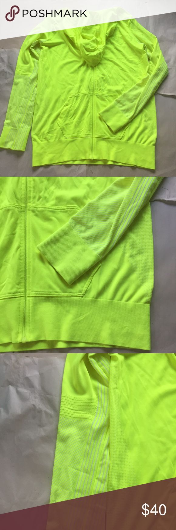 NWOT Nike Neon Yellow Knit Full Zip Hoodie Jacket Bright neon yellow Nike dri-fit jacket. Super light weight, perfect for running. Hood with drawstring with a front zipper that zips all the way up to the chin, blocking out the elements.   🌟same or next day shipping on all orders (except weekends)🌟make me an offer!🌟 Nike Jackets & Coats