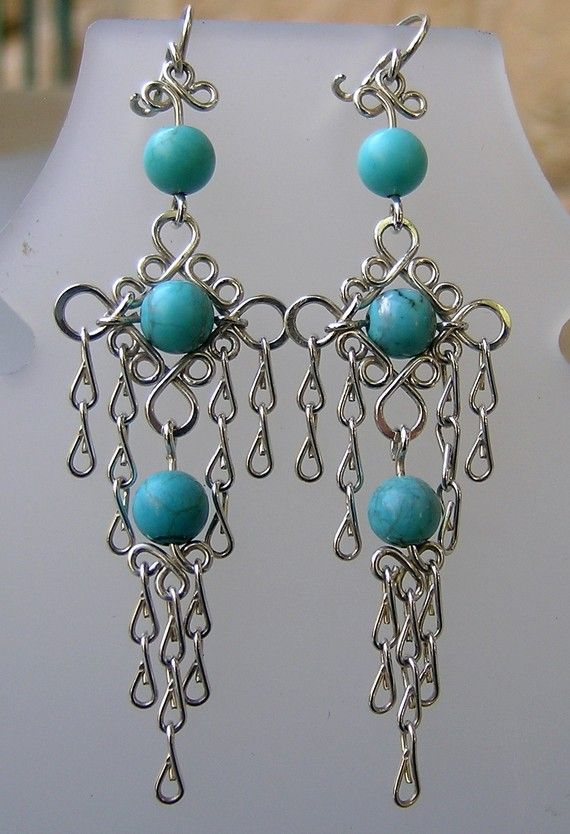 Sterling silver and Turquoise Handmade filigree dangly by Almendro