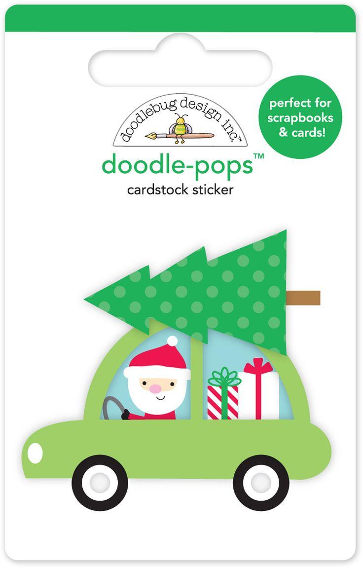 Pegatina 3D Santa Claus Special Delivery doodle-pops.  Figurita adhesiva de Papa Noel en 3D.  Para decorar lo que quieras dandole un toque en relieve.