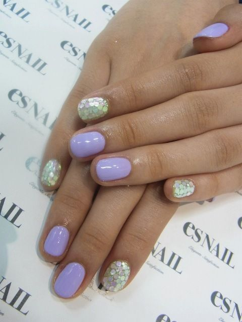 Cute purple and accent silver nails!