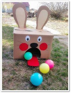 Boldogbaba: Húsvéti készülődés, labda játék, kartondoboz, nyuszi