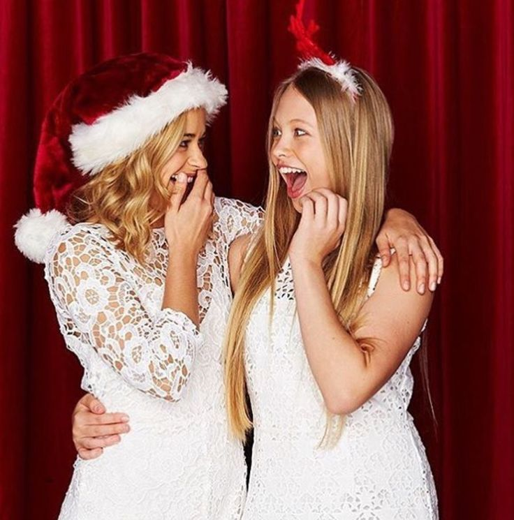 Raechelle Banno (Olivia) and Olivia Deeble (Raffy) what a lovely Christmas photoshoot
